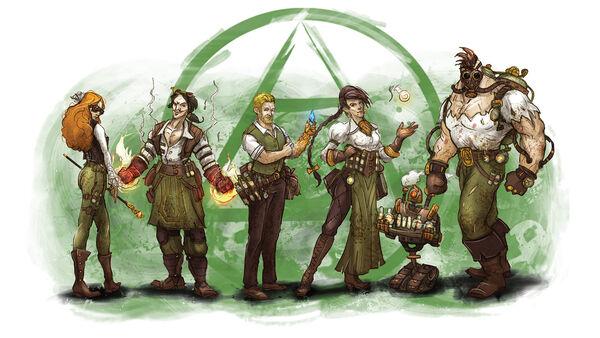 Die Alchemists aus Guild Ball mischen ihre Zutaten.